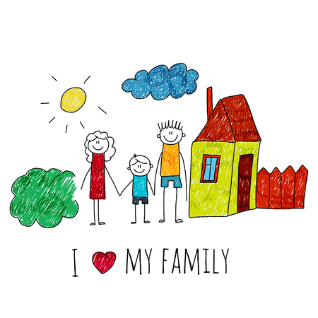 image of happy family with house. Kids drawing I love my family Vettoriali