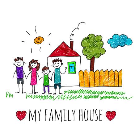 Bild der glücklichen Familie mit Haus. Kinder-Zeichnung Ich liebe meine Familie Standard-Bild - 48793185