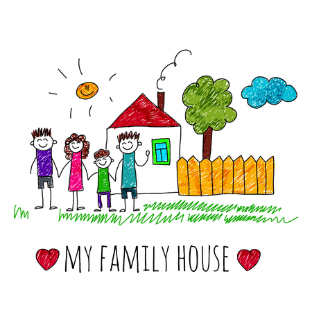 i kids: image of happy family with house. Kids drawing I love my family Illustration