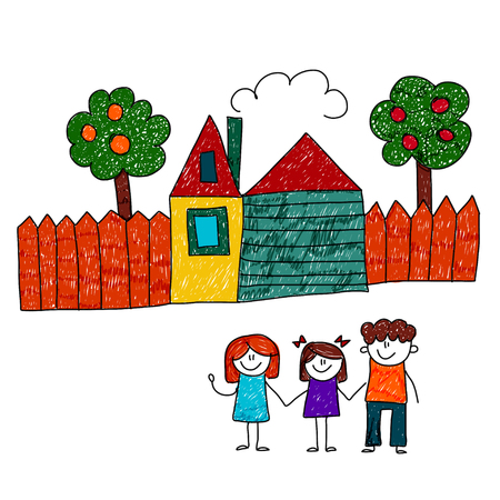 family outside house: image of happy family with house and garden. Kids drawing