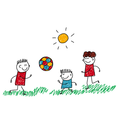 children health: image of happy kids playing football. Kids drawing