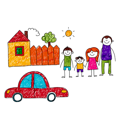 family outside house: image of happy family with car and house. Kids drawing