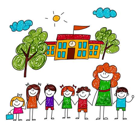 strichmännchen: Bild von glücklichen Kindern mit Lehrer. Kinder zeichnen