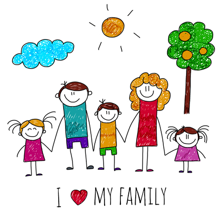 image of big happy family. Kids drawing