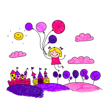 elf queen: illustration of happy girl with balloons. Kids drawing Illustration