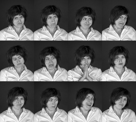 expressing: Portraits of young woman expressing different emotions. Blackboard background
