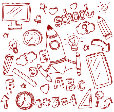 paper background: Image of vector doodle set of education icons