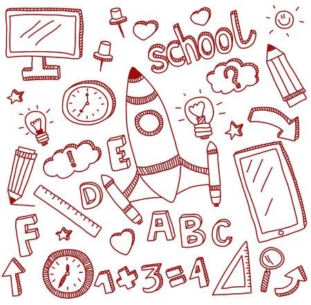 Afbeelding van vector doodle set van onderwijs icons