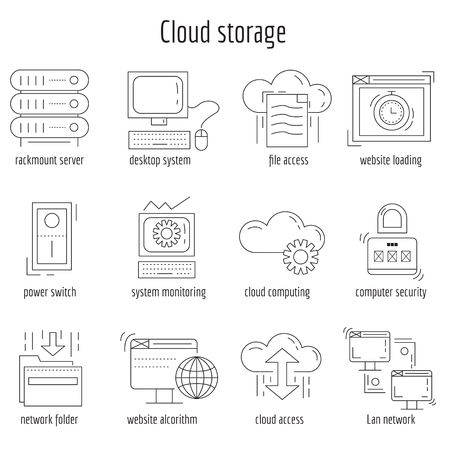 Vector set of linear icons Cloud storage and networking