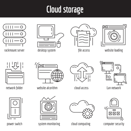 syncing: Vector set of linear icons Cloud storage and networking