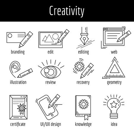 Vector set of icons about creative process Linear images