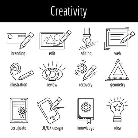 Vector conjunto de iconos sobre imágenes lineales proceso creativo Foto de archivo - 51573200