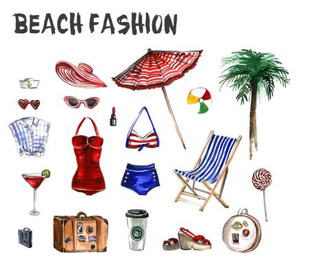 해변 패션의 수채화 세트 여행 아이콘과 그것을 즐길 스톡 콘텐츠