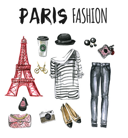 up skirt: Watercolor set of fashion icons Paris Hand drawn picture Stock Photo