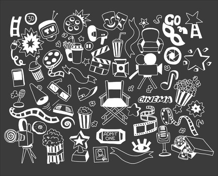 a cartoon film: Vector set of cartoon doodle icons Cinema Hand drawn elements