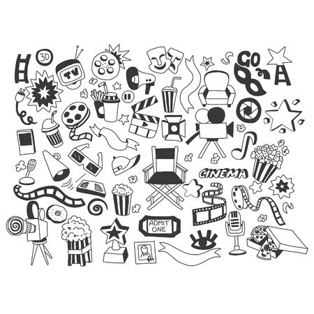 3d film: Vector set of  cinema icons Hand drawn elements Illustration