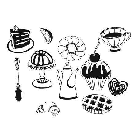 お茶とお菓子手描きのベクター セット落書きアイコン