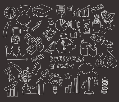 blackboard: Vector set of doodle images Business and finance Hand drawn elements