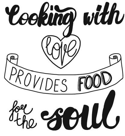 Vector del cartel con cita sobre la comida y la cocina