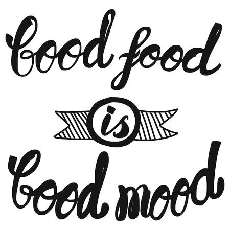 comida rica: Vector del cartel con la cita de la comida y el buen humor Vectores