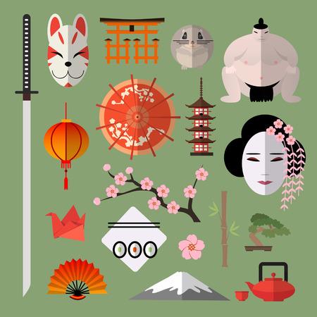 japones bambu: Vector conjunto de iconos con elementos de diseño plano japonés