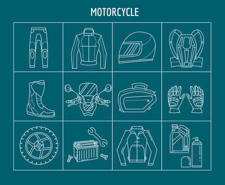 rearview: Motorbike motorcycle elements Vector set of linear icons