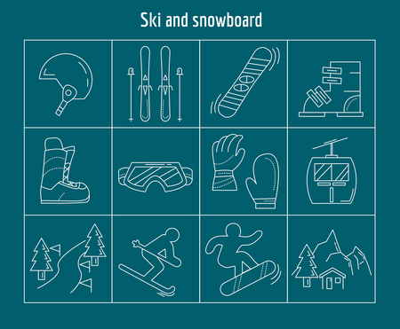 chalet: Ski and snowboarding Vector set of linear icons