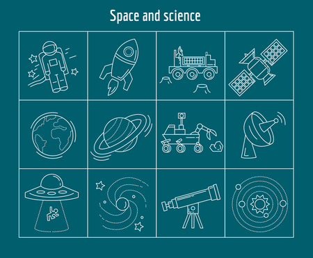 lunar rover: Space and science Vector set of linear icons