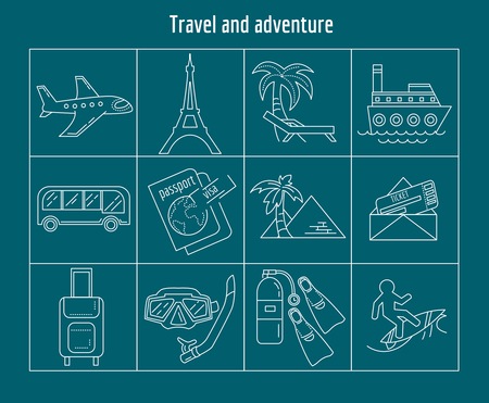 snorkelling: Travel and adventure Vector set of linear icons