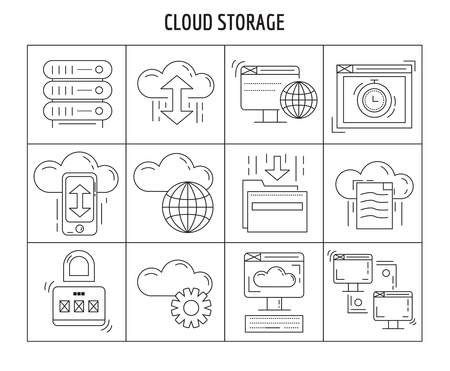 global settings: Cloud storage Vector set of linear icons isolated on blue background