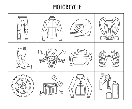 rearview: Vector set of linear icons Motorcycles Simple flat design
