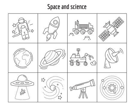 abduction: Vector set of linear icons Space and Science Simple flat design Illustration