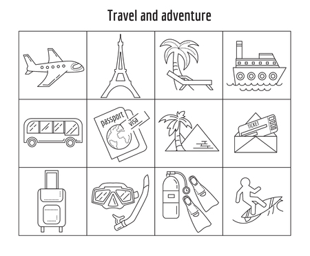 snorkelling: Vector set of linear icons Travel and adventure Simple flat design