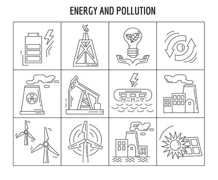 Vector conjunto de iconos lineales de energía de diseño plano simple