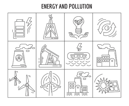 Vector set of linear icons Energy Simple flat design