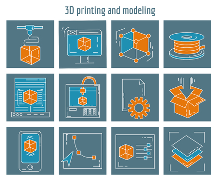 modeling: Vector icons set 3d printing and modeling Linear design