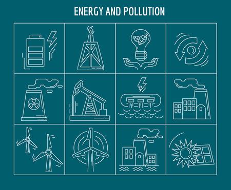 La energía y la contaminación del vector conjunto de iconos lineales