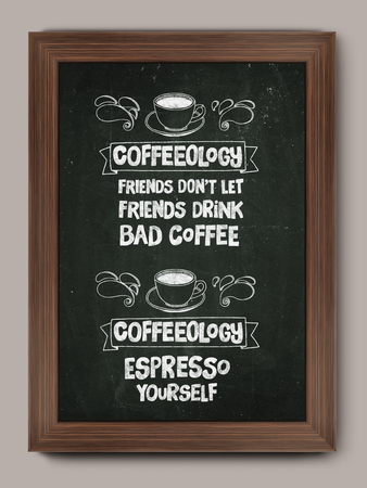 poser: Hand drawn poster with quote about coffee Motivation phrase