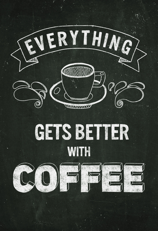 black coffee: Hand drawn poster with quote about coffee Without frame