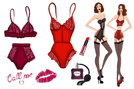 Vector image of lingerie Hand drawn picture Illustration