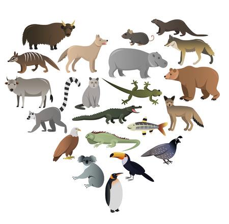 Vector Bild von wilden Tieren in Zoo