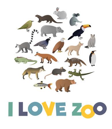 Ich liebe ZOO. Vector Plakat mit den Tieren Bilder für jede Art Design