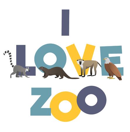 nutria caricatura: Me encanta ZOO. Vector del cartel con imágenes de animales para cualquier tipo de diseño