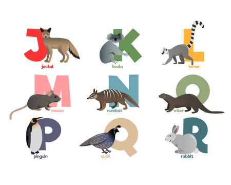 Vector image of alphabet with animals for children