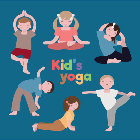 little boy and girl: Children yoga class Vector image of kids sport education