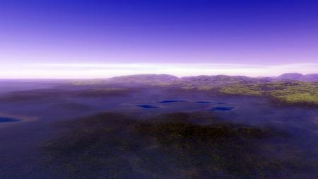 energia solar: Imagen de la puesta del planeta generatet Procedimiento imagen 3d Foto de archivo