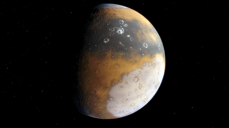 3d Procedural generated image of Mars View from space