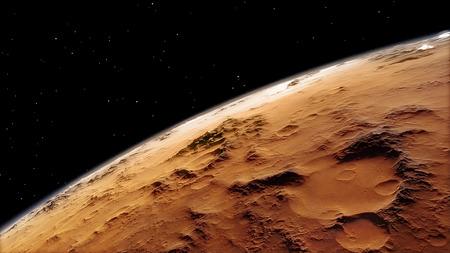 우주에서 화성보기의 3d 절차 생성 된 이미지