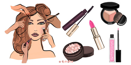 beautiful women: Make up illustration with lipstick Hand drawn image