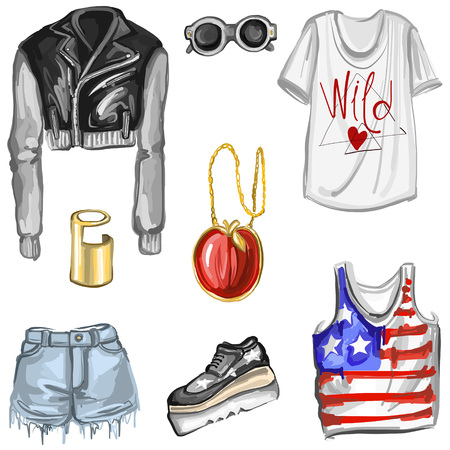 spring fashion: Spring Fashion in NY style Hand drawn images Illustration